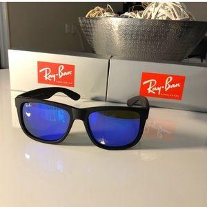 Ray-Ban Justin's Matte Black Purple Lens